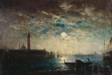Venise et le Campanile au clair de lune (Félix Ziem) - Muzeo.com