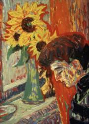 Visage de Femme face aux Tournesols (Ernst Ludwig Kirchner) - Muzeo.com