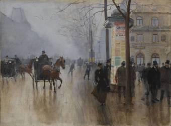 Voitures sur le Boulevard des Italiens (Béraud Jean) - Muzeo.com