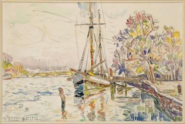 Vue de Bayonne, l'Adour avec un voilier, 9 avril 1924 (Signac Paul) - Muzeo.com