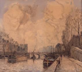 Vue de Paris avec Notre-Dame à gauche (Frank Myers Boggs) - Muzeo.com