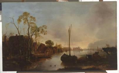 Bord d'un canal en Hollande (Van der Neer Aert, l'Ancien) - Muzeo.com