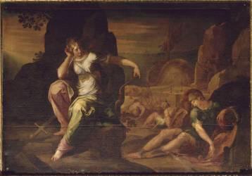 Chariclée et Théagène blessé sur le rivage de l'Egypte, sont épiés par des voleurs (Ambroise Dubois) - Muzeo.com