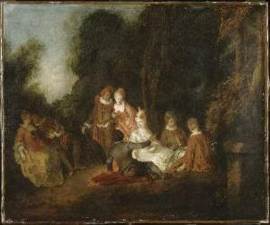 Conversation dans un parc (Philippe Mercier) - Muzeo.com