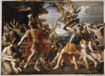 Enée et ses compagnons combattant les Harpies (François Perrier) - Muzeo.com