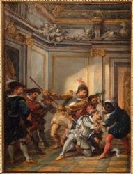 Esquisse pour l'assassinat du duc de Guise (Jean-François de Troy) - Muzeo.com