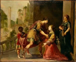 Jeune femme, dont la maternité semble prochaine, implorant la justice d'un guerrier (Claude Vignon) - Muzeo.com