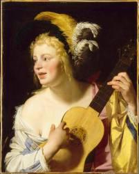 La joueuse de guitare (Gerrit Van Honthorst) - Muzeo.com