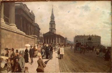 La National Gallery et l'église Saint-Martin à Londres (Giuseppe de Nittis) - Muzeo.com
