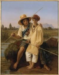 Les Petits pêcheurs de grenouilles dans les Marais Pontins (Léopold Robert) - Muzeo.com
