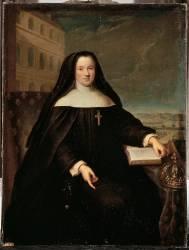 Marie Leszczynska en costume de religieuse devant la Maison Royale de Saint-Cyr (Jean-Baptiste Santerre) - Muzeo.com
