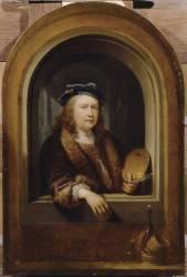 Portrait de l'artiste avec une palette à la main (Gérard Dou) - Muzeo.com