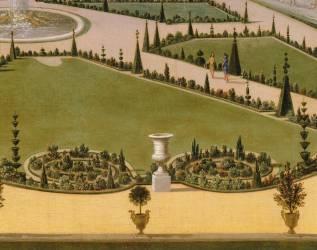 Promenade de Louis XIV en vue du Parterre du Nord dans les jardins de Versailles vers 1688 (Allegrain Etienne) - Muzeo.com