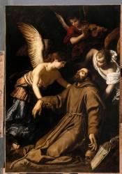 Saint François d'Assise réconforté par les anges aprés sa stigmatisation (Gérard Seghers) - Muzeo.com
