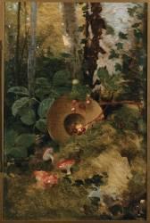 Sous-bois aux champignons rouges (Galland Pierre-Victor) - Muzeo.com