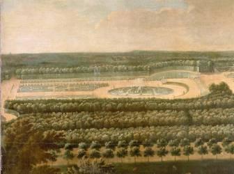 Vue de l'Orangerie, des parterres et du château de Versailles prises des hauteurs de Satory (Allegrain Etienne) - Muzeo.com
