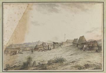 Vue d'un village et mission de saint-Joseph en Californie (Noël Alexandre Jean) - Muzeo.com