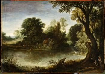 Chasseurs près d'un étang (Bril Paul) - Muzeo.com