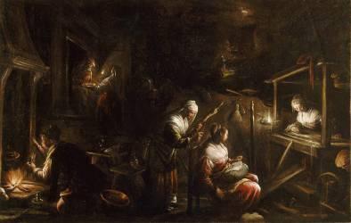 Interieur d'un ménage ou Les fileuses (Bassano Jacopo) - Muzeo.com