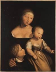 La femme et les deux enfants de l'artiste (Holbein Hans, le Jeune) - Muzeo.com