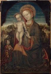 La Vierge d'Humilité et l'Enfant adorés par Lionello d'Este (Bellini Jacopo) - Muzeo.com