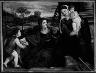 La Vierge et l'enfant avec saint Jean-Baptiste et sainte Agnès (Titien (dit), Vecellio Tiziano) - Muzeo.com