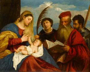 La Vierge et l'Enfant avec saint Etienne, saint Jérôme et saint Maurice (Titien (dit), Vecellio Tiziano) - Muzeo.com