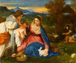 La Vierge et l'Enfant avec sainte Catherine dit La vierge au lapin (Titien) - Muzeo.com