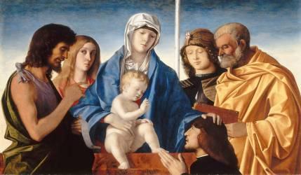 La Vierge et l'Enfant entourés de saints et d'un donateur (Bellini Giovanni) - Muzeo.com