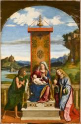 La Vierge et l'Enfant entre Jean-Baptiste et sainte Marie-Madeleine (Cima da Conegliano Giovanni...) - Muzeo.com