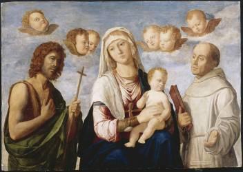La Vierge et l'Enfant entre saint Jean-Baptiste et saint François (Cima da Conegliano Giovanni...) - Muzeo.com