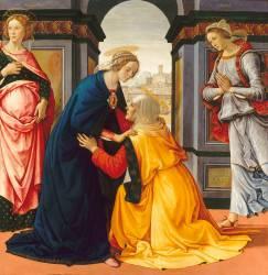 La Visitation entre Marie-Jacobie et Marie-Salomé (Domenico Ghirlandaio) - Muzeo.com