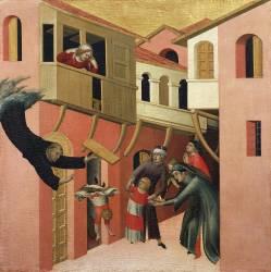 Le Miracle du nouveau-né tombant d'un balcon (Simone Martini) - Muzeo.com