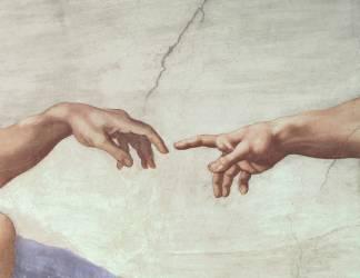 Mains de Dieu et d'Adam, détail de la Création d'Adam de la Chapelle Sixtine (Michel-Ange) - Muzeo.com