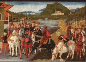 Panneau de cassone : l'Histoire d'Enée (Giovanni di Ser Giovanni,...) - Muzeo.com