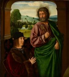 Pierre II, sire de Beaujeu, duc de Bourbon (1439-1503), présenté par saint Pierre (Le Maître de Moulins (dit),...) - Muzeo.com