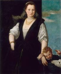 Portrait de femme avec un enfant et un chien (les enfants de Francesco Bevilacqua ?) (Véronèse Paul) - Muzeo.com