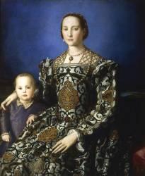 Portrait d'Eléonore de Tolède et de son fils Jean de Médicis (Bronzino) - Muzeo.com