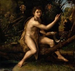 Saint Jean-Baptiste dans le désert désignant la croix de la Passion (Raphaël (dit) Sanzio...) - Muzeo.com