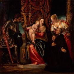 Vierge à l'Enfant entre sainte Justine et saint Georges avec un Bénédictin (Paul Véronèse) - Muzeo.com