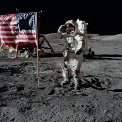 13/12/1972 l'astronaute Gene Cernan lors de la mission lunaire d'Apollo 17. (Anonyme) - Muzeo.com