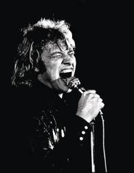 Le chanteur français Johnny Hallyday (Jean-Philippe (Jean-Philippe) Smet) chanter lors d'un de ses concerts de rock. Milan, 1973 (anonyme) - Muzeo.com