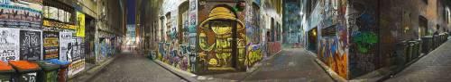 Panorama de murs couverts de graffitis sur Hosier Lane (Jon Hicks) - Muzeo.com