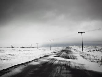 Poteaux téléphoniques dans un champ couvert de neige (Magnusson K.) - Muzeo.com