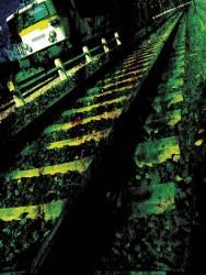 Voies délabrées avec un train (anonyme) - Muzeo.com