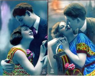 2 cartes postales fantaisie vers 1920 - couples d'amoureux (Anonyme) - Muzeo.com