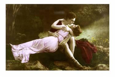 Carte de voeux de la Saint Valentin : un couple en costume romain s'embrassant. (Anonyme) - Muzeo.com