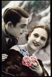 Couple avec fleurs - carte de voeux (Umberto anonyme) - Muzeo.com
