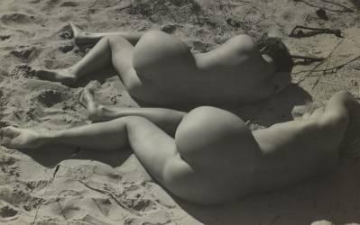 Deux nus féminins allongés sur une plage (Raoul Hausmann) - Muzeo.com
