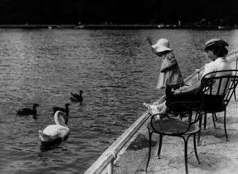 PETITE FILLE ET CYGNE AU BOIS DE BOULOGNE VERS 1930 (Keystone) - Muzeo.com